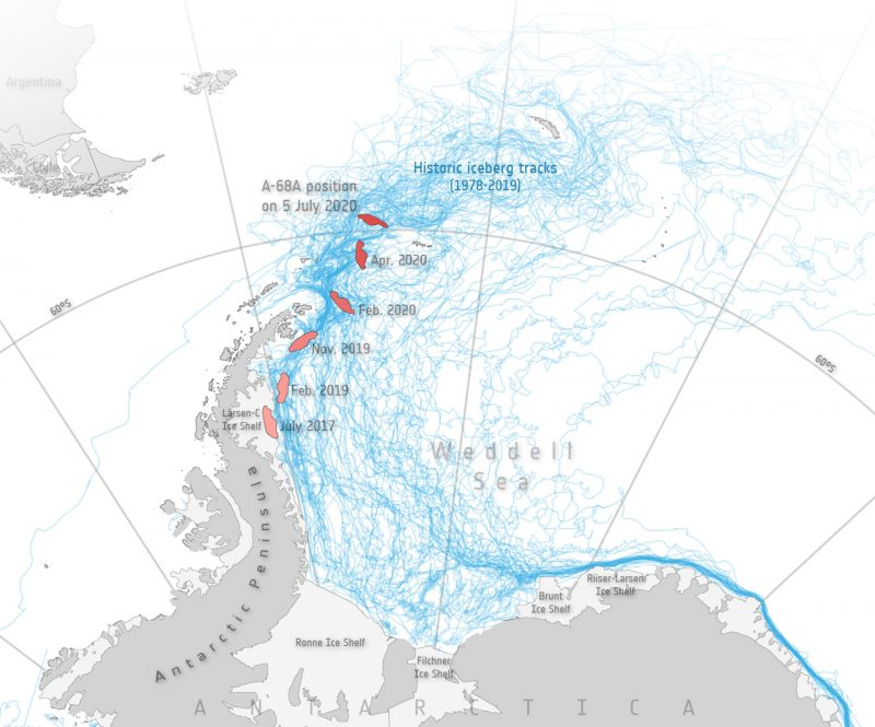 Map of part of Antarctica with many blue lines of past iceberg paths, showing A-68's path among them.