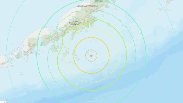 Map showing narrow peninsula with dot in the sea near it and concentric circles around the dot.