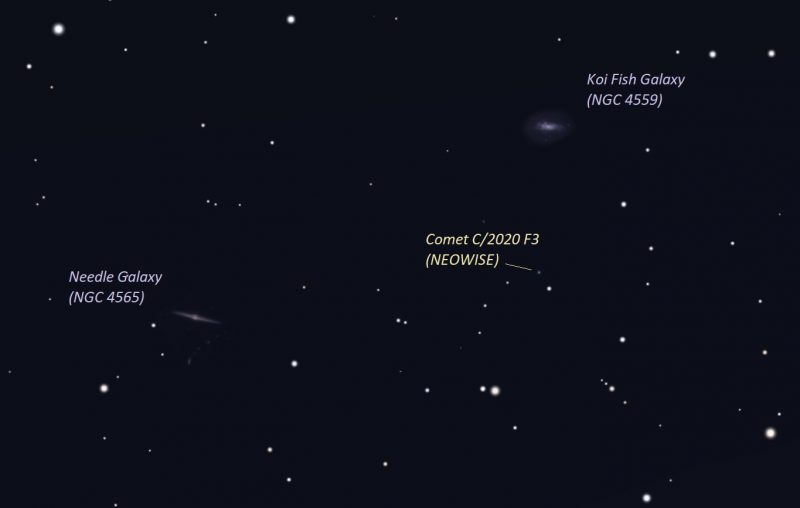 Star chart with comet location marked and two galaxies labeled.