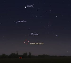 Wide-sky chart showing Comet NEOWISE on the morning of July 7, 2020.