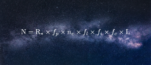 Drake equation written in front of starry background.
