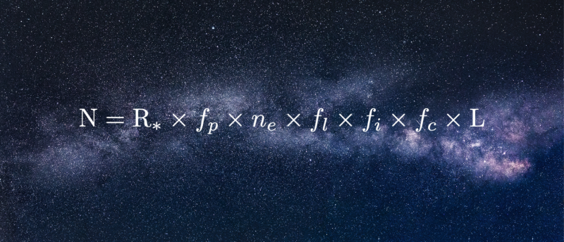 Dark sky with long fuzzy white band across it with with numbers and letters superimposed.