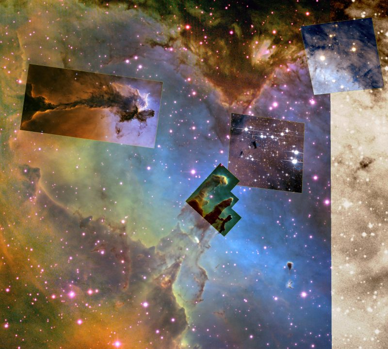Colorful nebula with stars and highlighted squares and rectangles around interesting features.