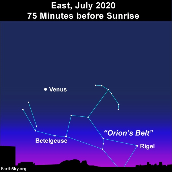 Venus and Orion before dawn July 2020.
