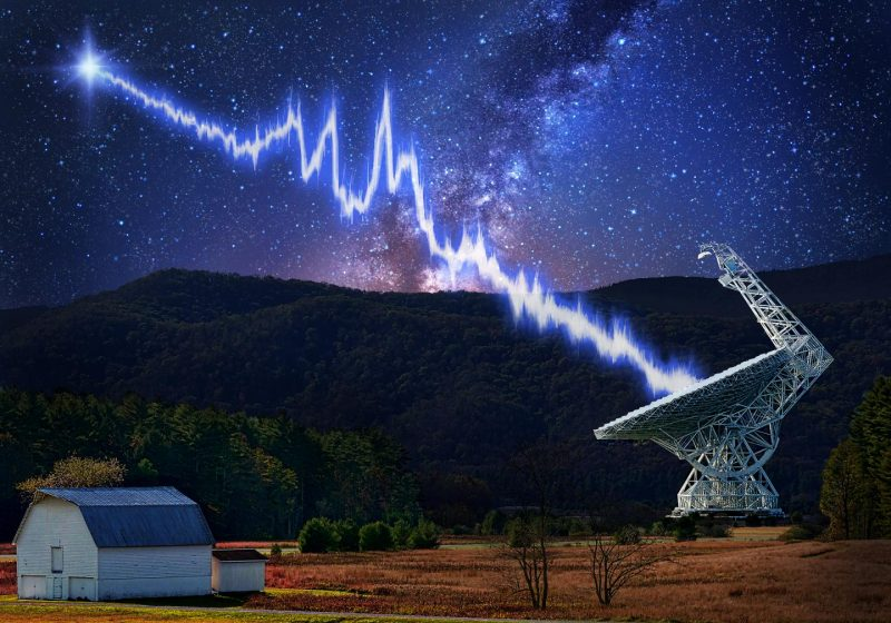 A jagged white line connecting a distant star with a dish-shaped radio telescope in a rural setting.