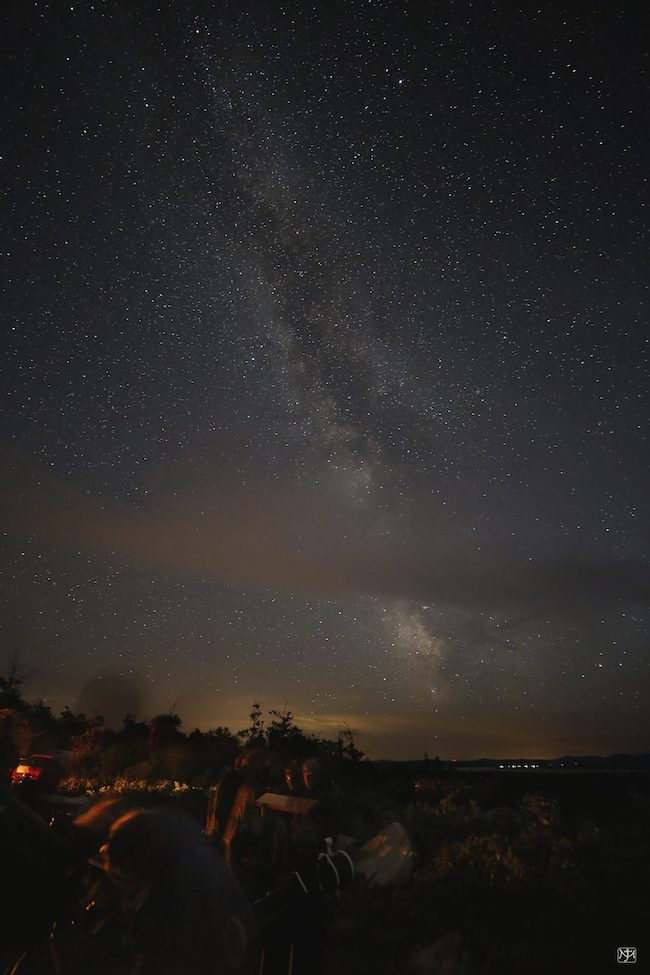 Landscape under Milky Way and very starry sky.