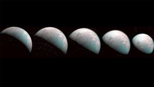 Five greyish spheres on black background.