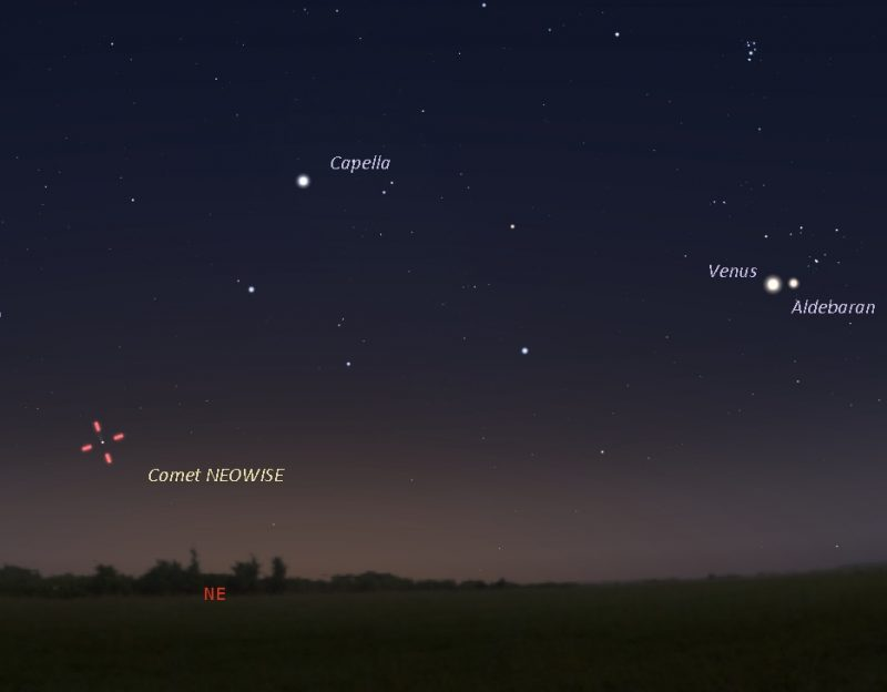 Carte du ciel montrant Vénus, Aldebaran, Capella et l'emplacement de la comète.