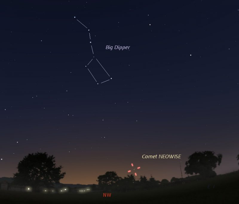 Star chart with Big Dipper and tick marks indicating location of the comet.