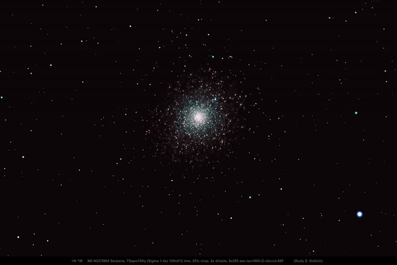 M5: Black background and tightly packed cluster of white dots.