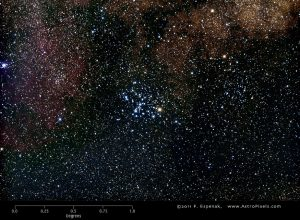 A photo showing a tight grouping of mostly blue-white stars against a backdrop of fainter stars.