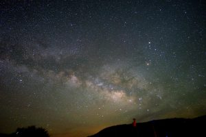 An image of a nebulous band of unresolved stars, with sections of subdued red, white, and orange, dark dust lanes, with with some bright red, yellow, and blue stars -- stretching over the horizon.