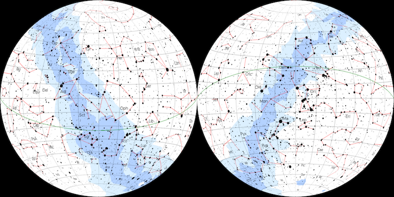 Two maps in circles, showing all the constellation patterns. The Milky Way is shaded in blue.