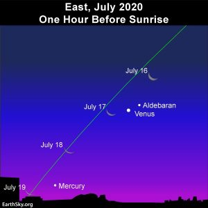 Slender waning crescent moon swings by Venus and then Mercury in the morning sky.