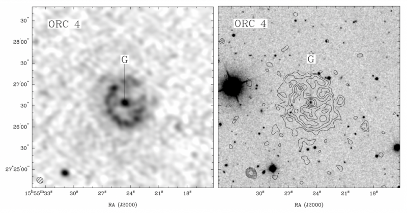 Left: Dark ring with spot in middle. Right: circle of squiggly concentric lines with dot in middle.