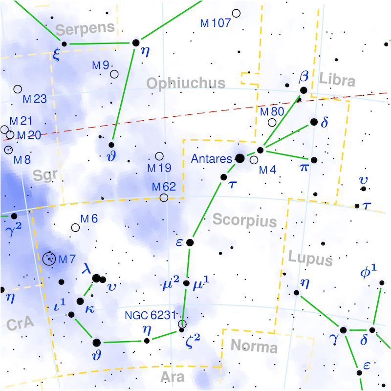Chart of many labeled sky objects, with light blue shaded areas and nearly horizontal dashed line.