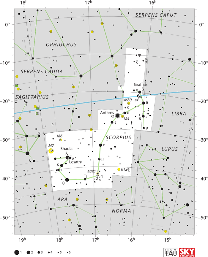 A star chart with the stars of Scorpius connected by lines.