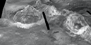 Ringlike structures on a planetary surface.