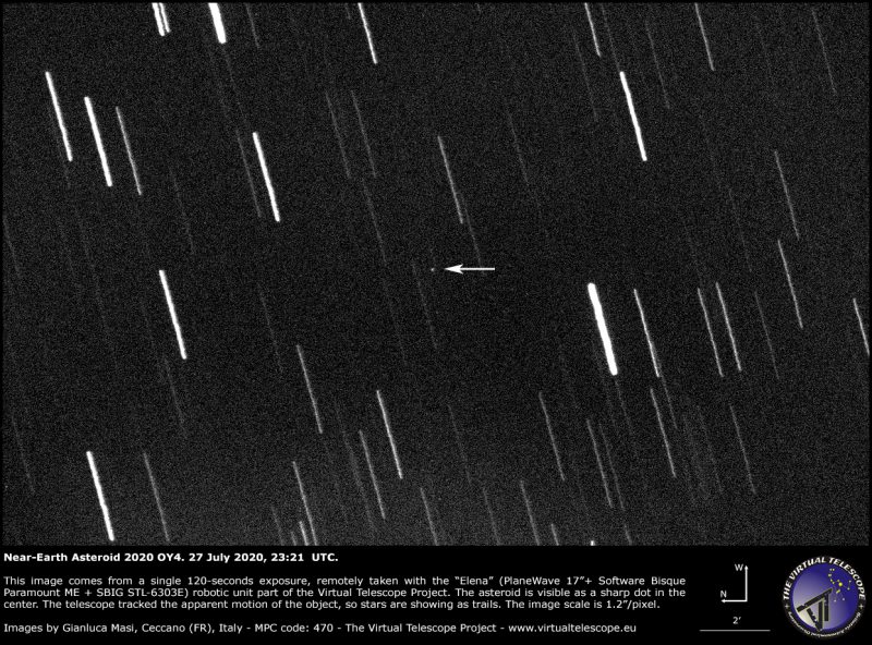 Many thin white streaks on gray background with the asteroid appearing as a dot. An arrow points to it.