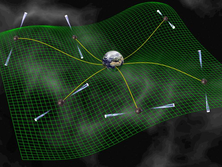 Web-like structure with Earth at the center, wavy lines and small pointed tubes, on a misty background.