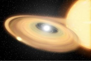 Small white dwarf star, surrounded by a disk Material from a larger companion star is falling onto the disk.