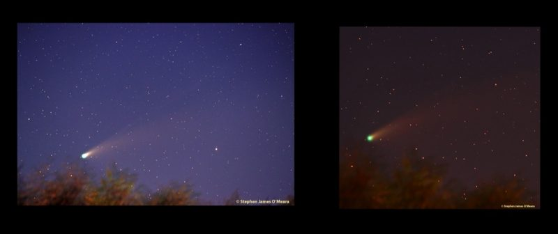2-paneled composite showing Comet NEOWISE as a green fuzzy head with lighter-colored tail.