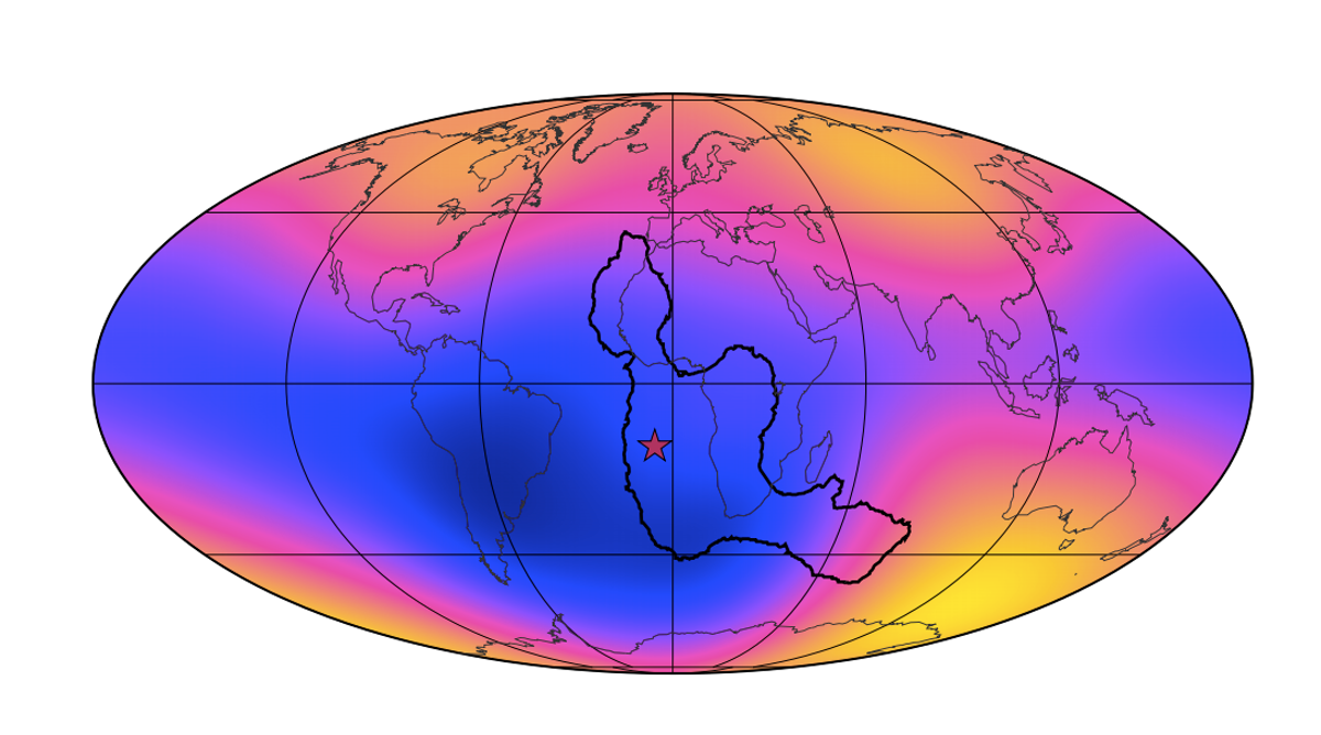 Stretched oval map of Earth with mostly blue along the middle and mostly red and black toward Arctic and Antarctic.