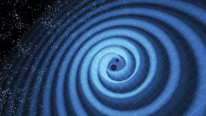 Blue spirals surrounding two small black orbs with stars in background.