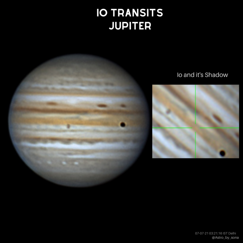 A composite image, with a full Jupiter on the left and a close-up of the moon and its shadow on Jupiter's clouds on the right.