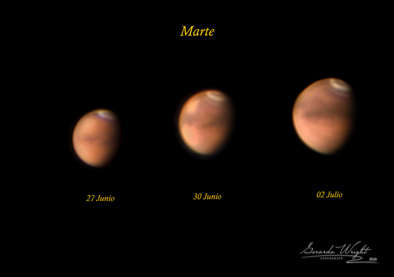 Three telescopic views of Mars, different sizes, showing a mottled red surface and a north polar cap.