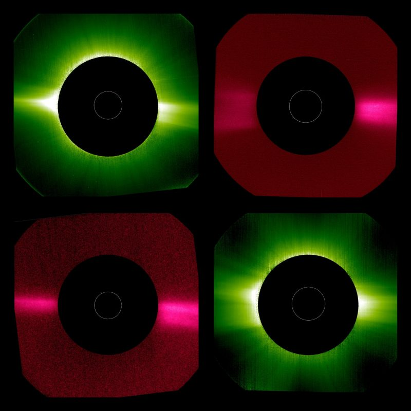 Another 4-paned image, 2 green and 2 red. In each image. the sun itself is blocked by an occulting disk.