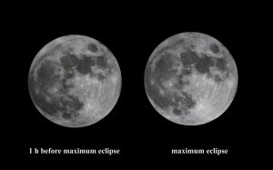 Side by side comparison of the non-eclipsed moon with the moon at maximum eclipse. There's almost no discernible difference.