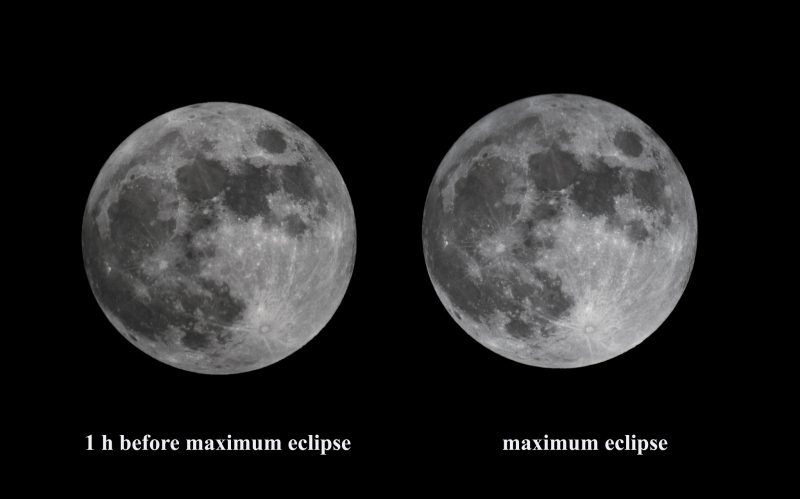 Photos of non-eclipsed moon with moon at maximum eclipse. Almost no discernible difference.