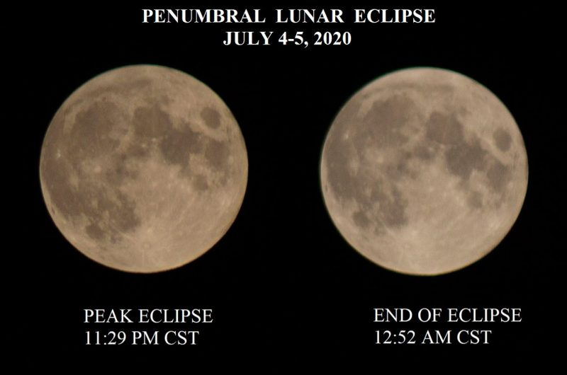 A comparison of the moon at mid-eclipse, and at the end of the eclipse.