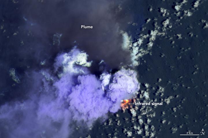 A light purple puff on a dark background next to a fiery orange spot emitting volumes of dark smoke.