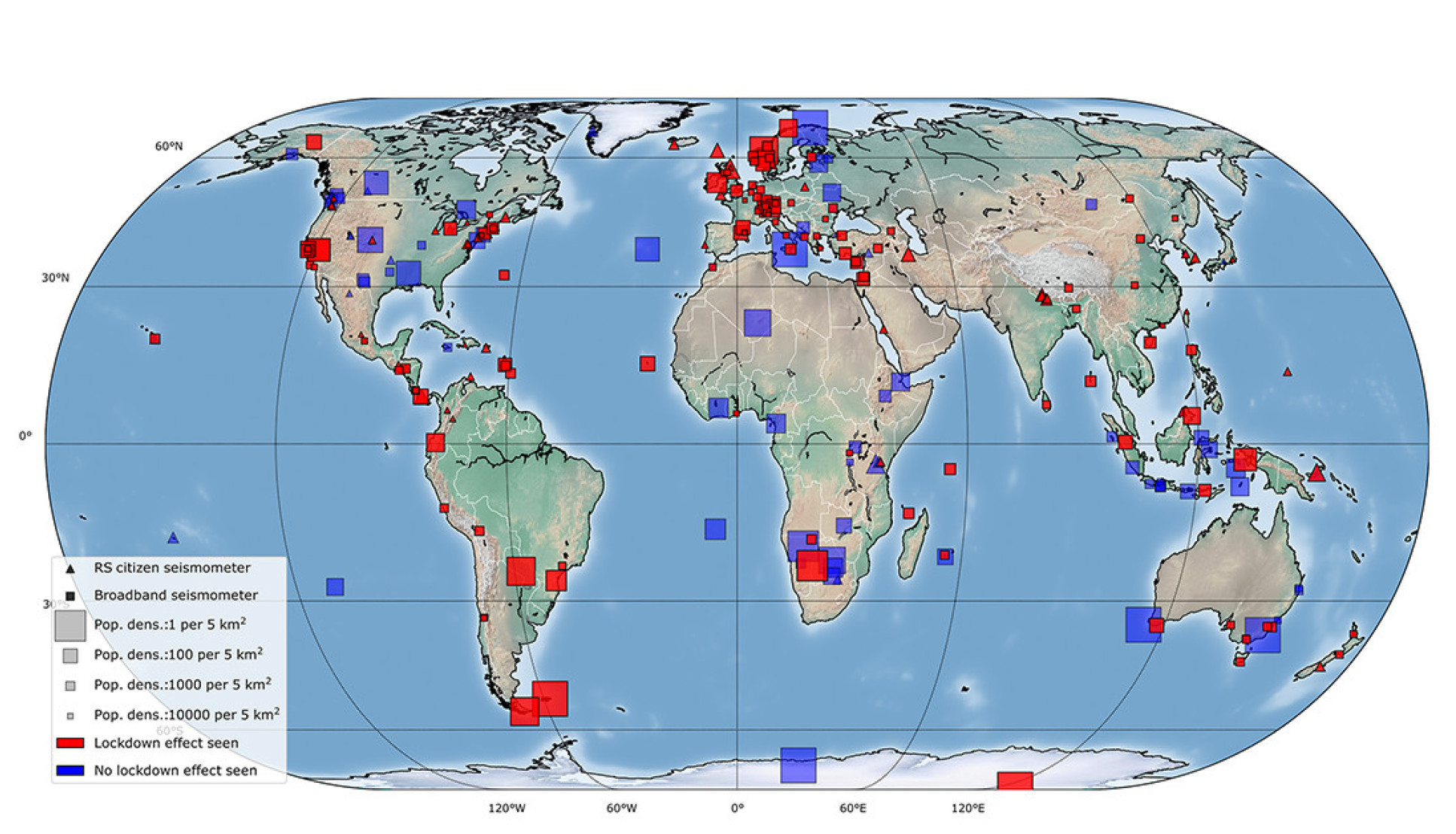 Map of world with with small red and blue squares scattered across it.