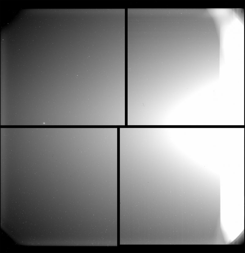 Four-paned view of space, with a bright light from the sun on one side, and a tiny dot (Mercury).