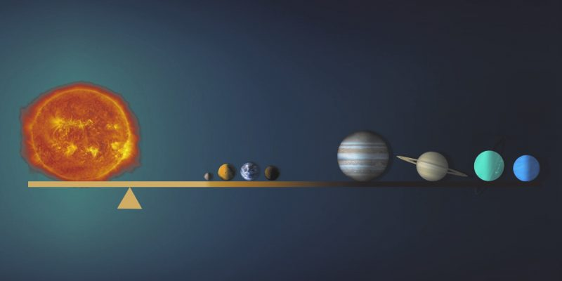 Planets of the solar system depicted as being on a seesaw.