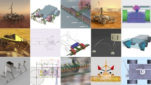 A collage showing 15 Venus rover designs.