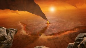 Volcanic plumes in reddish terrain and hazy atmosphere.