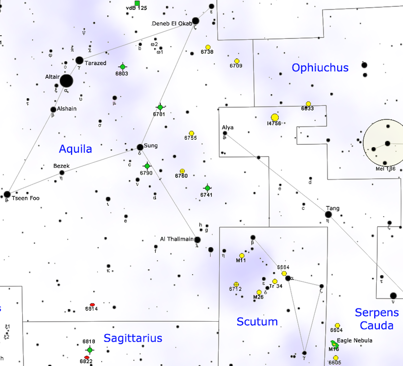 A star map with stars in black on white, with Messier 11 marked as a small yellow circle.