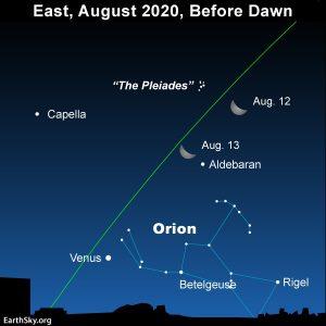 Moon, Venus Orion before dawn.