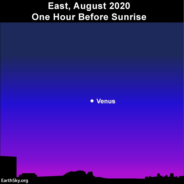 Sky chart: Venus adorns the eastern morning sky in August 2020.