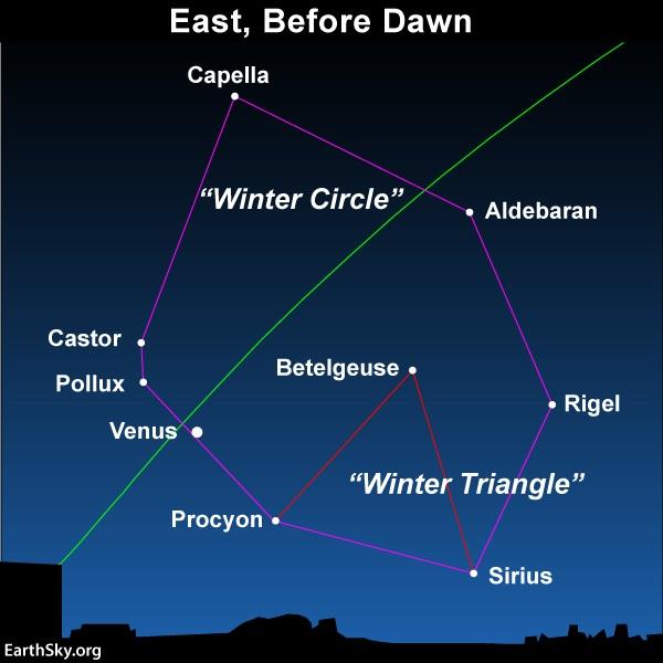 Winter Circle in the Predawn/dawn sky.