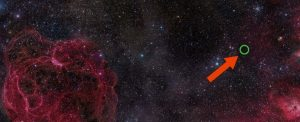 Background of stars and gas, with red arrow and green circle.