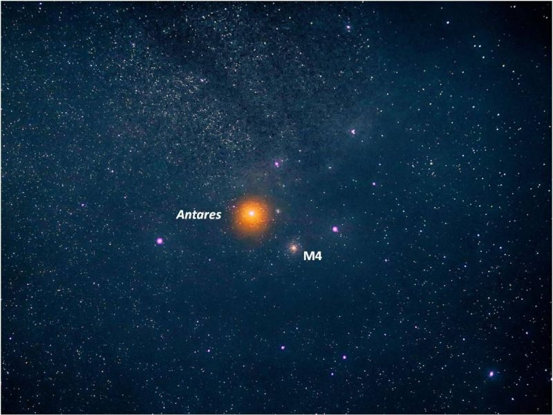 A star field with a large, fuzzy bright red star, with a fuzzy round star cluster next to it, both labeled.