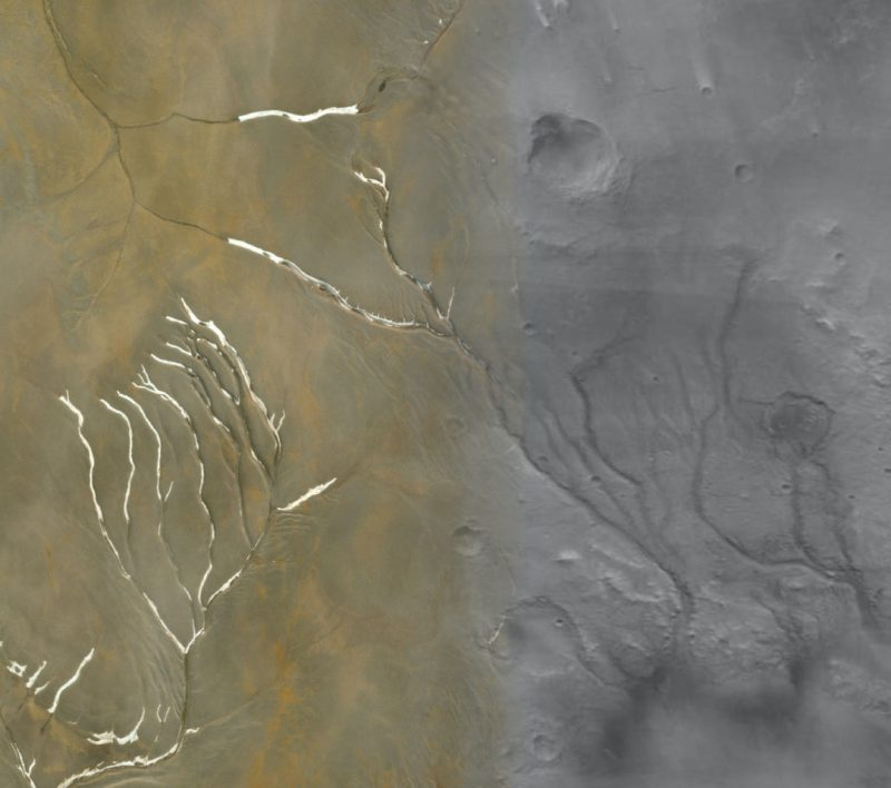 Meandering channel shapes on brown and grey terrain, with white highlights.