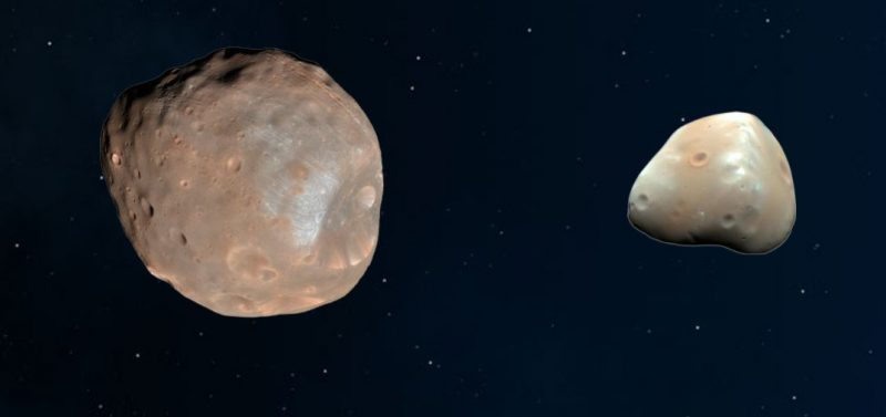 Two rocky objects, one twice the apparent size of the other, next to each other on black background with stars.