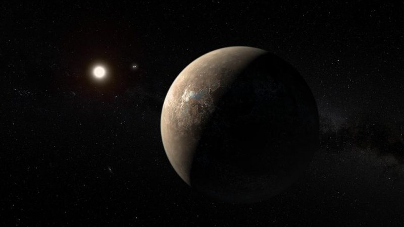 Rocky planet orbiting a bright star, with other stars in background.