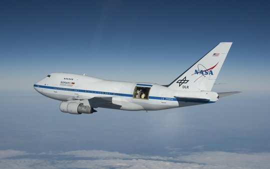 The Stratospheric Observatory for Infrared Astronomy (SOFIA) is a Boeing 747SP jetliner modified to carry a 106-inch diameter telescope.
